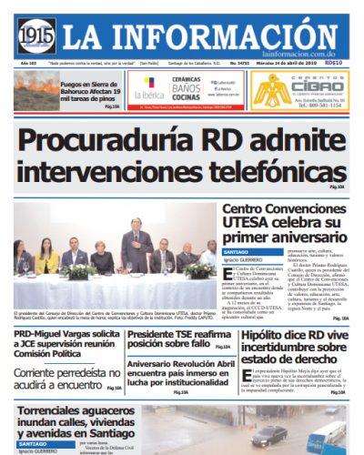 Portada Periódico La Información, Miércoles 24 Abril 2019