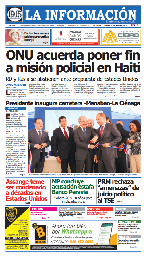 Portada Periódico La Información, Sábado 13 Abril 2019
