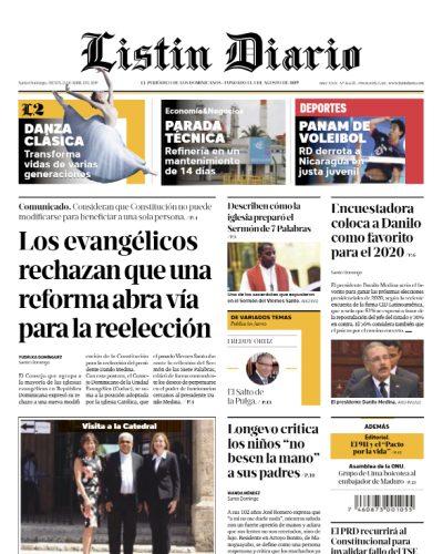 Portada Periódico Listín Diario, Jueves 25 Abril 2019