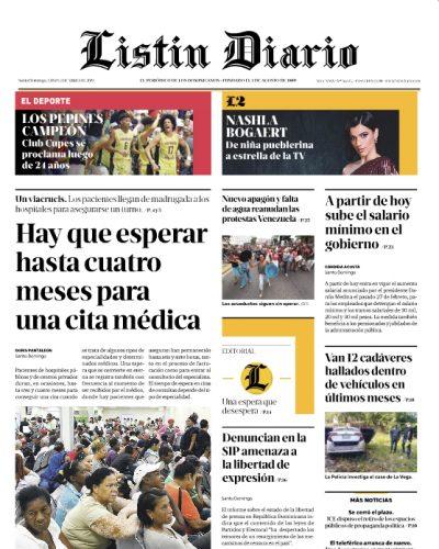 Portada Periódico Listín Diario, Lunes 01 Abril 2019