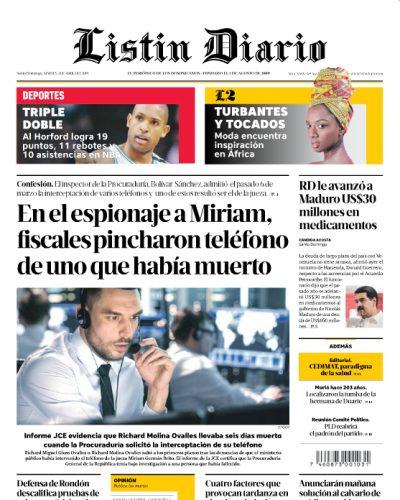 Portada Periódico Listín Diario, Martes 02 Abril 2019