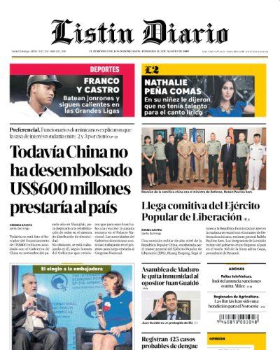 Portada Periódico Listín Diario, Miércoles 03 Abril 2019