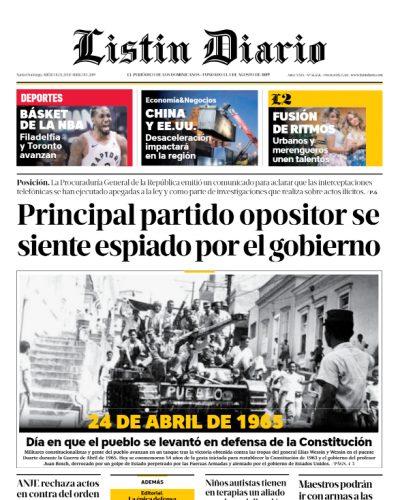 Portada Periódico Listín Diario, Miércoles 24 Abril 2019