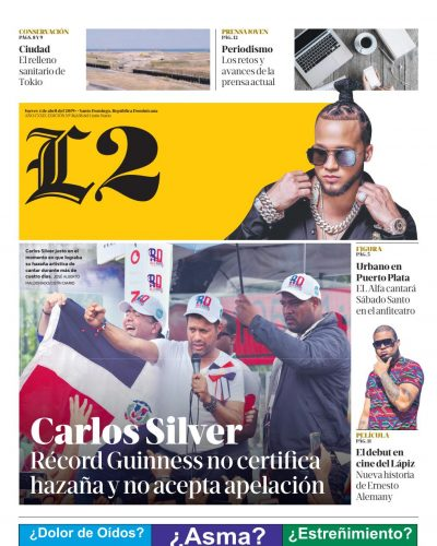 Portada Periódico Listín Diario – Sección L2, Jueves 04 Abril 2019