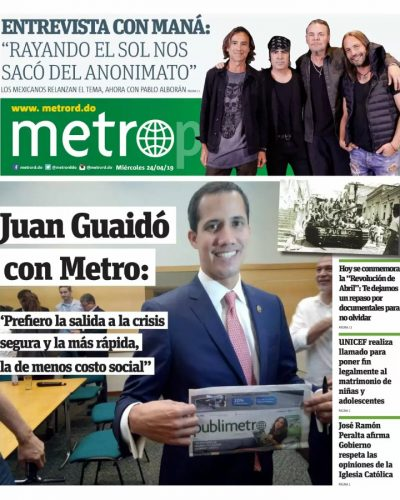 Portada Periódico Metro, Miércoles 24 Abril 2019