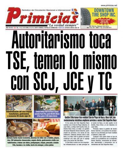 Portada Periódico Primicias, Domingo 14 Abril 2019