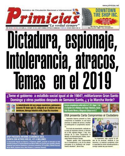 Portada Periódico Primicias, Domingo 28 Abril 2019