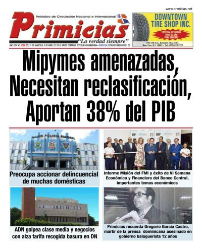 Portada Periódico Primicias, Lunes 01 Abril 2019