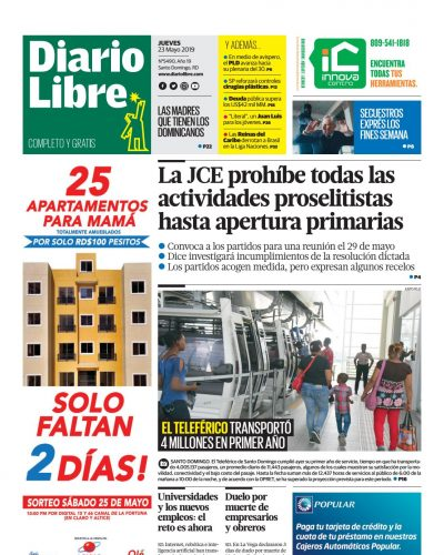 Portada Periódico Diario Libre, Jueves 23 Mayo 2019