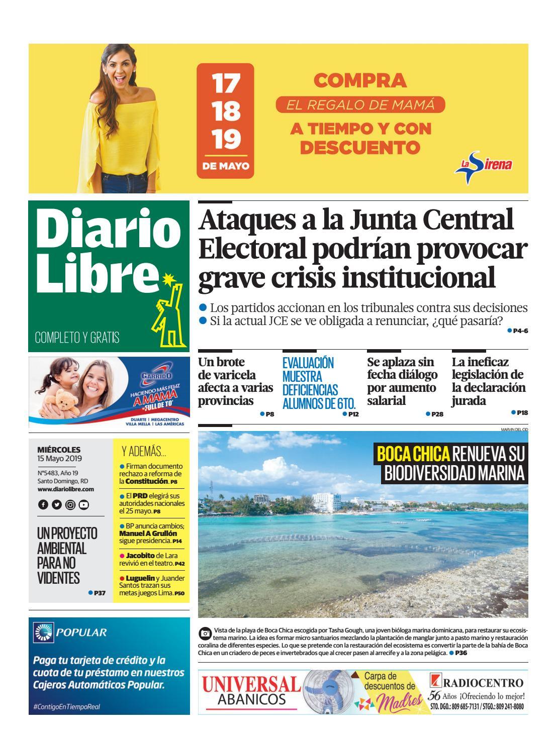 Portada Periódico Diario Libre, Miércoles 15 Mayo 2019