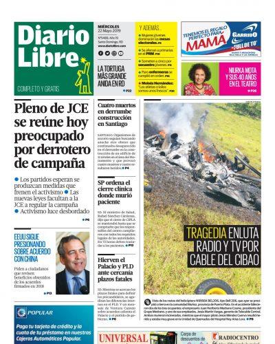 Portada Periódico Diario Libre, Miércoles 22 Mayo 2019