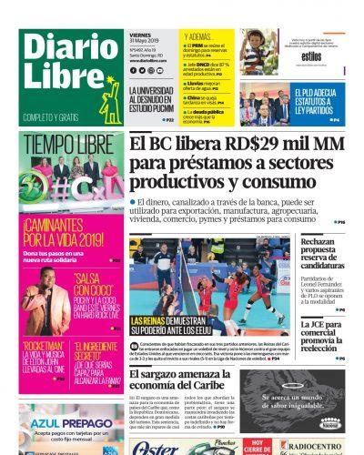 Portada Periódico Diario Libre, Viernes 31 Mayo 2019