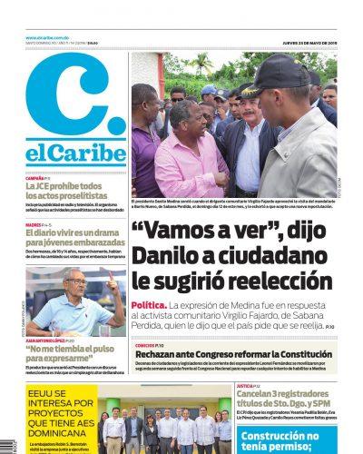 Portada Periódico El Caribe, Jueves 23 Mayo 2019