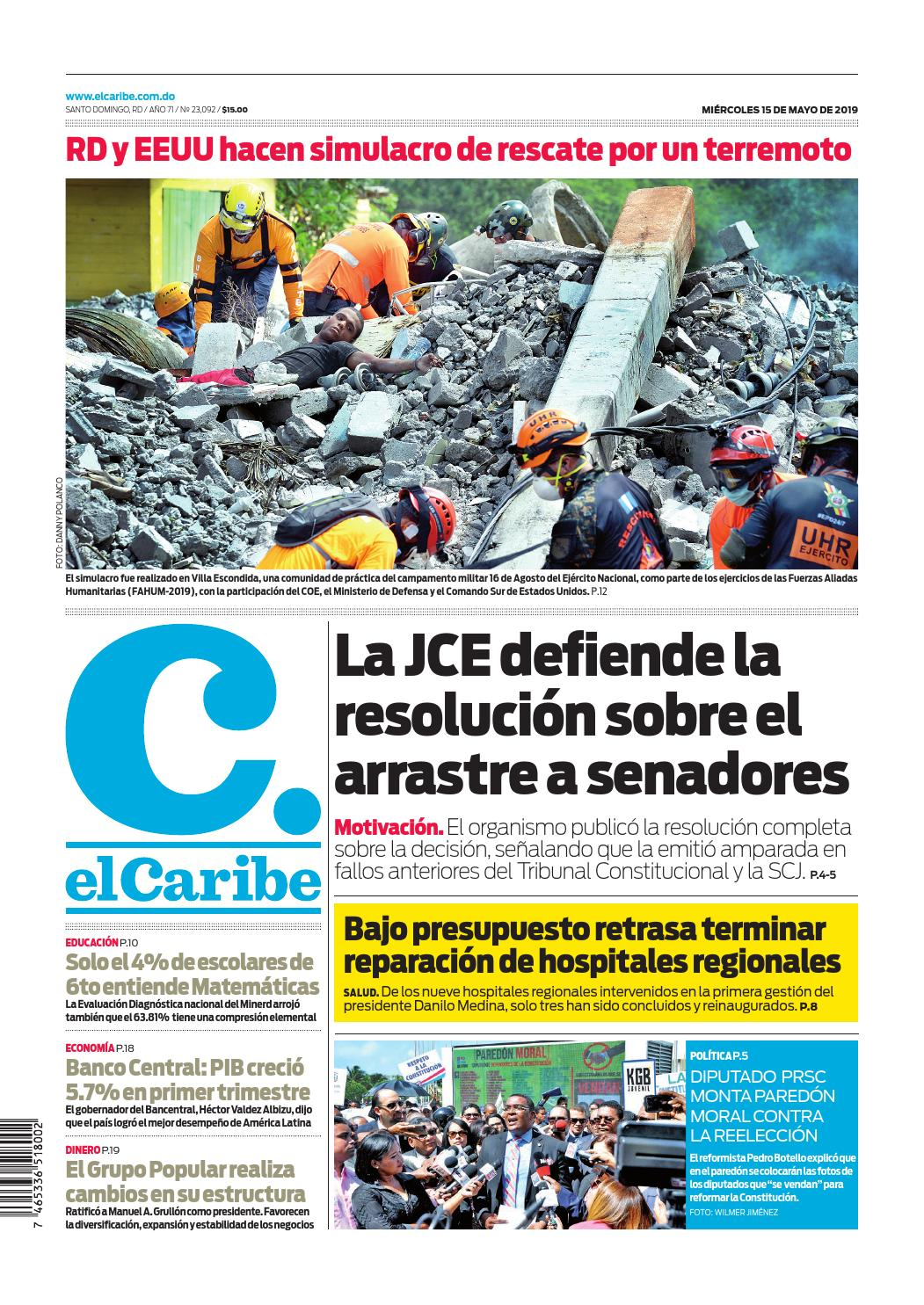 Portada Periódico El Caribe, Miércoles 15 Mayo 2019