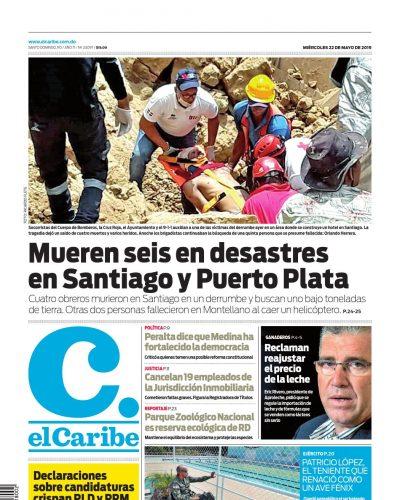Portada Periódico El Caribe, Miércoles 22 Mayo 2019