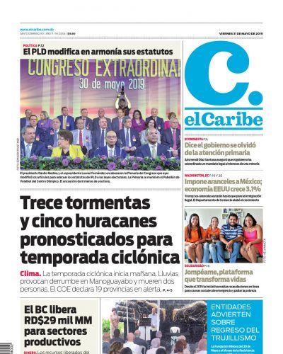Portada Periódico El Caribe, Viernes 31 Mayo 2019