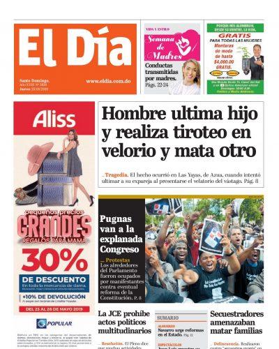 Portada Periódico El Día, Jueves 23 Mayo 2019