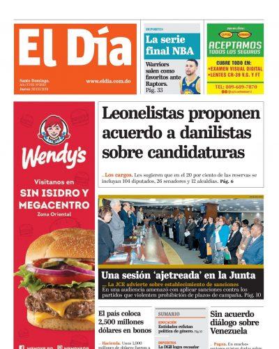 Portada Periódico El Día, Jueves 30 Mayo 2019
