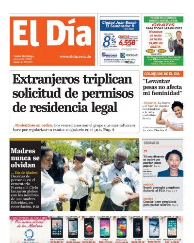 Portada Periódico El Día, Lunes 27 Mayo 2019