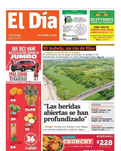 Portada Periódico El Día, Martes 28 Mayo 2019