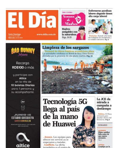 Portada Periódico El Día, Miércoles 22 Mayo 2019
