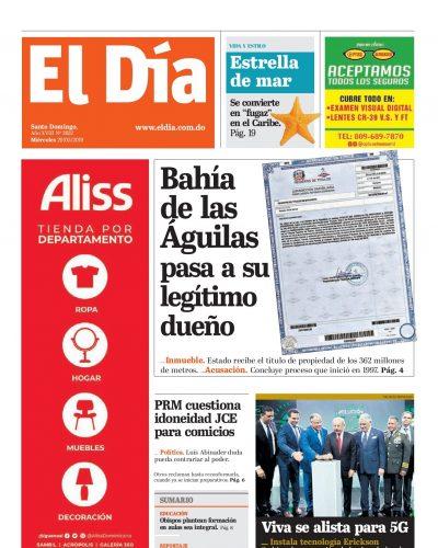 Portada Periódico El Día, Miércoles 29 Mayo 2019