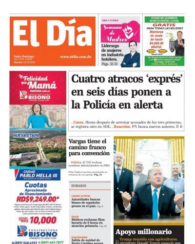 Portada Periódico El Día, Sábado 25 Mayo 2019