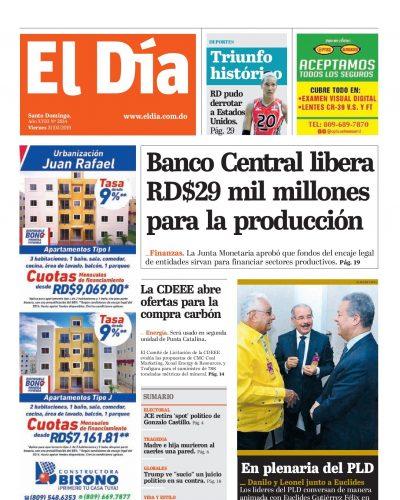 Portada Periódico El Día, Viernes 31 Mayo 2019