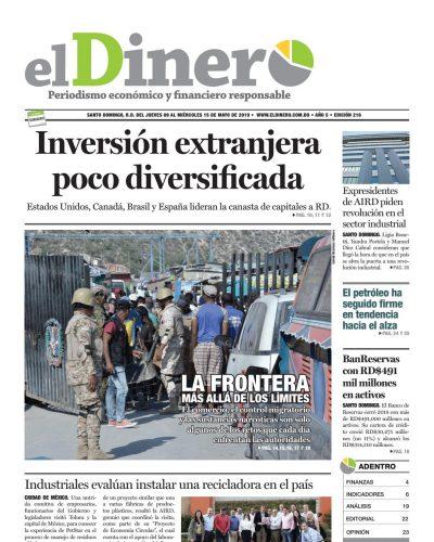 Portada Periódico El Dinero, Jueves 09 Mayo 2019