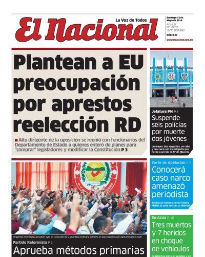Portada Periódico El Nacional, Domingo 12 Mayo 2019