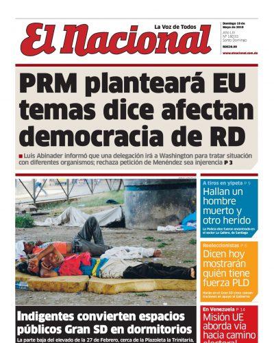 Portada Periódico El Nacional, Domingo 19 Mayo 2019