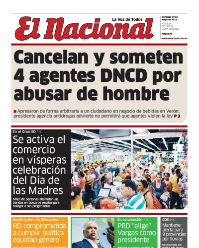 Portada Periódico El Nacional, Domingo 26 Mayo 2019