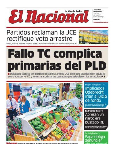 Portada Periódico El Nacional, Jueves 09 Mayo 2019