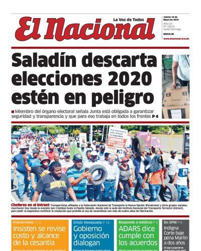 Portada Periódico El Nacional, Jueves 16 Mayo 2019