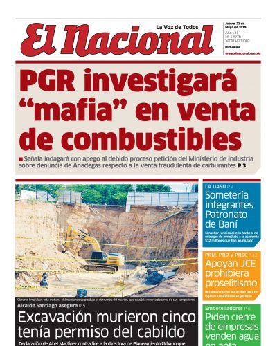 Portada Periódico El Nacional, Jueves 23 Mayo 2019