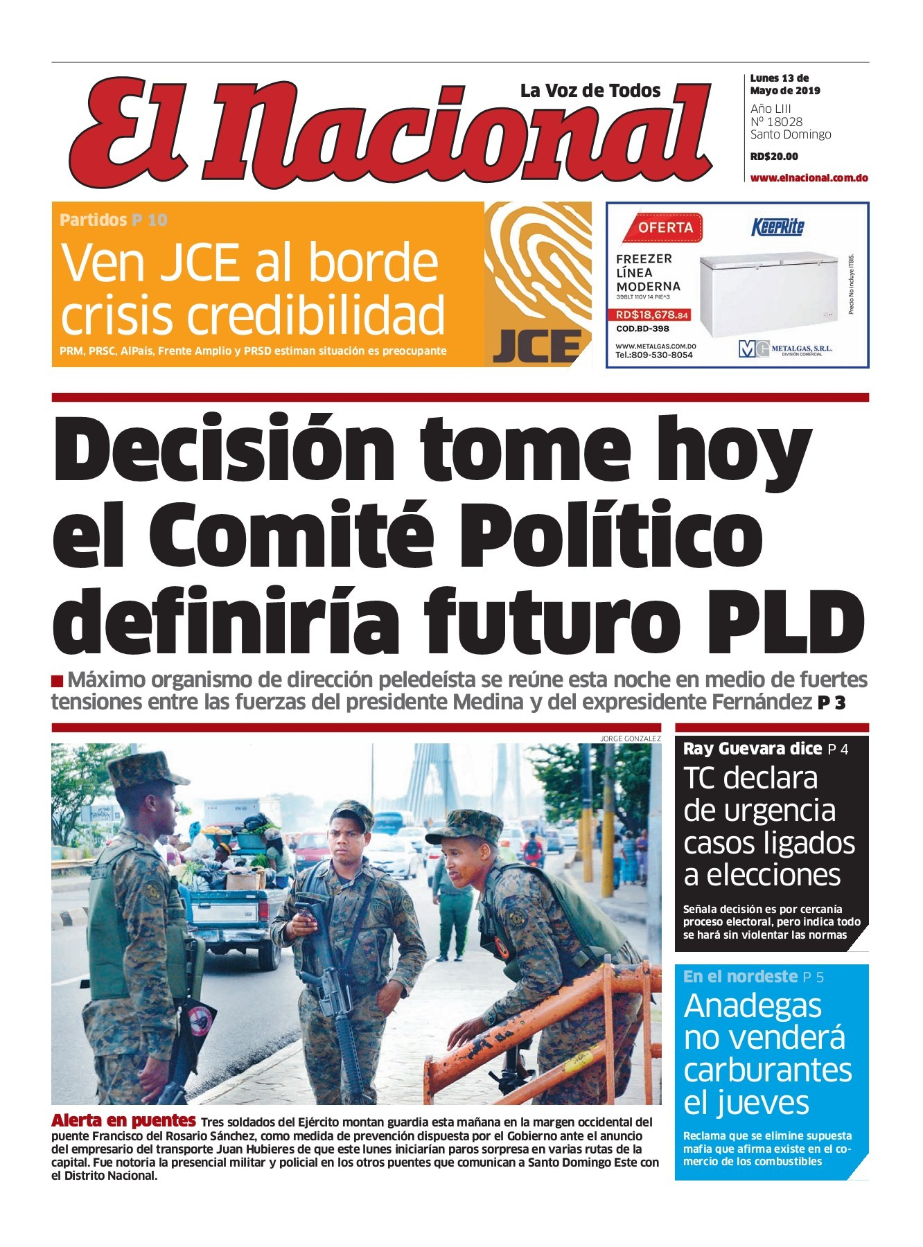 Portada Periódico El Nacional, Lunes 13 Mayo 2019