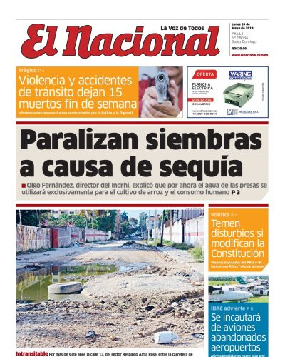 Portada Periódico El Nacional, Lunes 20 Mayo 2019