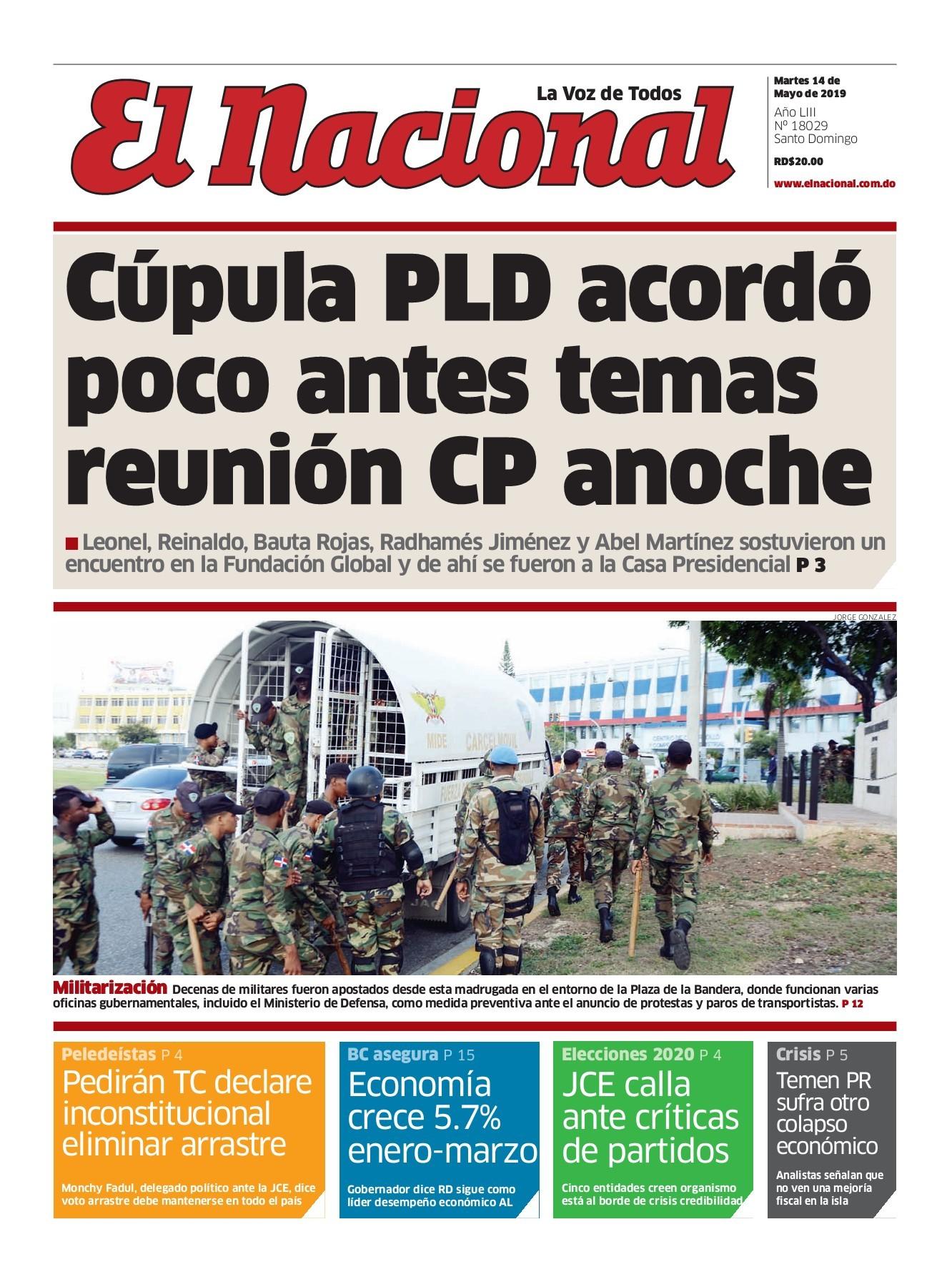 Portada Periódico El Nacional, Martes 14 Mayo 2019