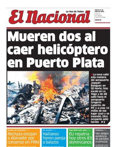 Portada Periódico El Nacional, Martes 21 Mayo 2019