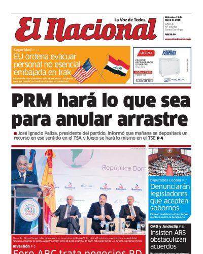 Portada Periódico El Nacional, Miércoles 15 Mayo 2019