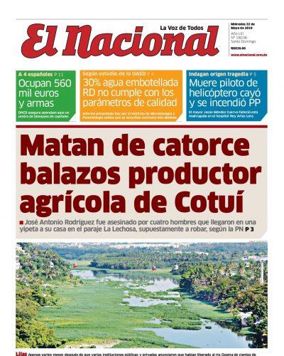 Portada Periódico El Nacional, Miércoles 22 Mayo 2019