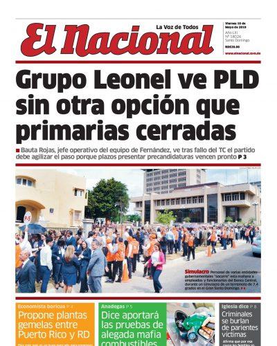 Portada Periódico El Nacional, Viernes 10 Mayo 2019
