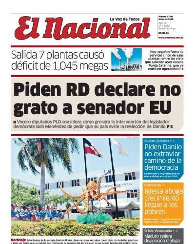 Portada Periódico El Nacional, Viernes 17 Mayo 2019