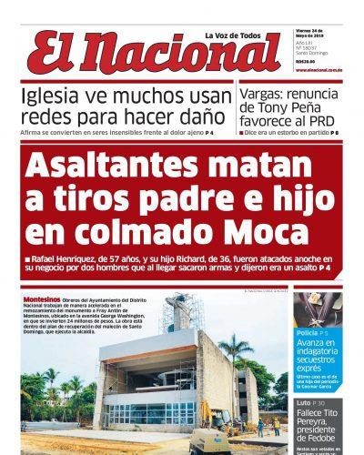 Portada Periódico El Nacional, Viernes 24 Mayo 2019