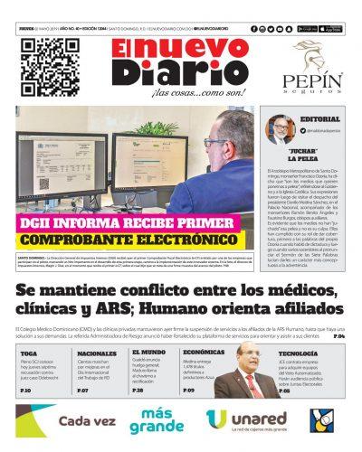 Portada Periódico El Nuevo Diario, Jueves 02 Mayo 2019