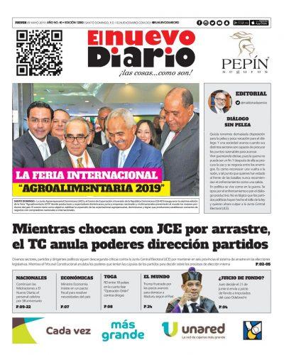 Portada Periódico El Nuevo Diario, Jueves 09 Mayo 2019