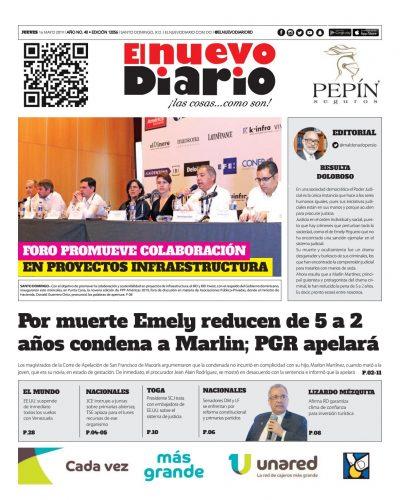 Portada Periódico El Nuevo Diario, Jueves 16 Mayo 2019