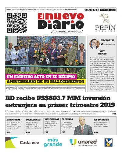 Portada Periódico El Nuevo Diario, Jueves 23 Mayo 2019