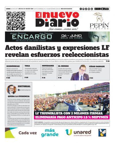 Portada Periódico El Nuevo Diario, Lunes 06 Mayo 2019