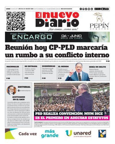 Portada Periódico El Nuevo Diario, Lunes 13 Mayo 2019